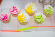 Neon Wedding. Cake, Cupcakes, Cake pops and rice treats by www.allthatfrost.com