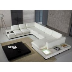 Modern White Leather Sectional Sofa New