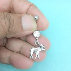 """Sterilized Handcrafted ALASKAN MOOSE Charm 14g 3/8"""" Surgical Steel Belly Ring. 