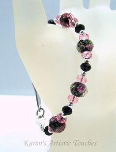 Black Pink Rose Swarovski Crystal Beaded by ArtisticTouches, $18.00