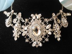 Excited to share this item from my shop: Victorian necklace, rhinestones crystals necklace, wedding necklace, bridal jewelry, bridesmaids necklace, wedding necklace, statement #silver #wedding #victorian #classic #bridalshowergift #bridalnecklace #crystalsnecklace Bridal Necklace, Rhinestone Necklace, Crystal Necklace, Crystal Rhinestone, Wedding Jewelry, Pendant Set, Crystal Pendant, Hollywood Fashion, Hollywood Style