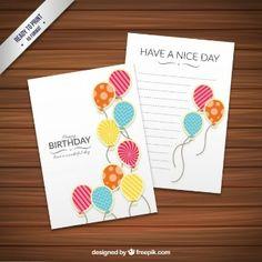Plantilla de la tarjeta de cumpleaños con globos de lujo