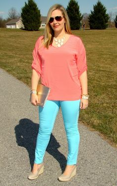 """turquoise & coral #curvy #thick    """" if you follow my Curvy Girl's Spring/Summer Closet, make sure to follow my Curvy Girl's Fall/Winter Closet.""""   http://pinterest.com/blessedmommyd/curvy-girls-fallwinter-closet/"""