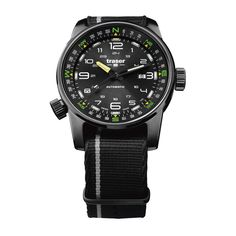 ShopHQ Shopping - Traser Men's Pathfinder Swiss Made Automatic Compass Blue Dial Nylon NATO Strap Watch. This Pathfinder automatic watch from Traser has everything you need for your outdoor excursions. It features a sporty black dial with green and y Modern Watches, Fine Watches, Luxury Watches For Men, Cool Watches, Men's Watches, Stylish Watches, Wrist Watches, Fashion Watches, Dream Watches