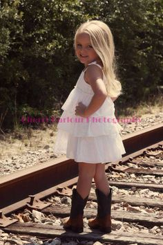 Toddler photography. Train track pictures. Railroad pictures. Cowgirl boots. Pretty little girl. Brooklyn Chayse.
