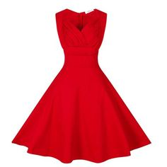 Red V-Neck Full-skirted Vintage Dress. Vintage Summer DressesVintage Style  ... 0c29bd46e809