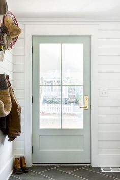 Farmhouse paint colors bedroom benjamin moore gray 28 ideas for 2019 Coastal Paint Colors, Farmhouse Paint Colors, Door Paint Colors, White Paint Colors, Glass Barn Doors, Glass Front Door, Farmhouse Interior, Interior Barn Doors, French Interior