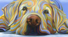 artist Kate Hoyer, love her work. Colorful Animal Paintings, Colorful Animals, Dog Face Paints, Cool Art Drawings, Dog Paintings, Gouache Painting, Watercolor Animals, Modern Artwork, Dog Art