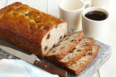 Chocolate Chip-Banana Bread recipe - You know what to do when you have a few really ripe bananas! Whip up this moist, tender banana bread studded with chocolate morsels. Sour Cream Banana Bread, Make Banana Bread, Chocolate Chip Banana Bread, Chocolate Chips, Kraft Recipes, Dessert Recipes, Cake Recipes, Calumet Baking Powder, Breakfast Bread Recipes