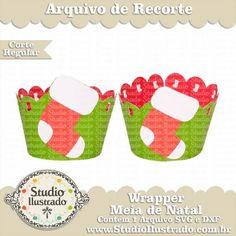 Wrapper Meia de Natal, Wrapper Christmas Stockings, Doce, Cupcake, Sweet, Christmas, Natal, Navidad, Feliz Natal, Merry Christmas, Feliz Navidad, Regular Cut, Corte Regular, Silhouette, SVG, DXF, PNG