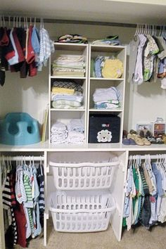 laundry baskets instead of a hamper for easy pre-sorting loads