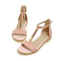 Sandals Summer Open Toe T-Strap Flats Zippered Ladies Shoes