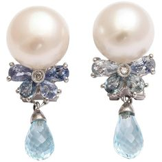 Preowned  Pearl And Sapphire Drop Earrings ($2,450) ❤ liked on Polyvore featuring jewelry, earrings, blue, bezel set earrings, blue sapphire jewelry, white pearl drop earrings, pre owned jewelry and blue earrings