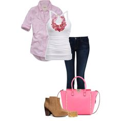 """""""Pink & White!"""" by jjanstover on Polyvore"""