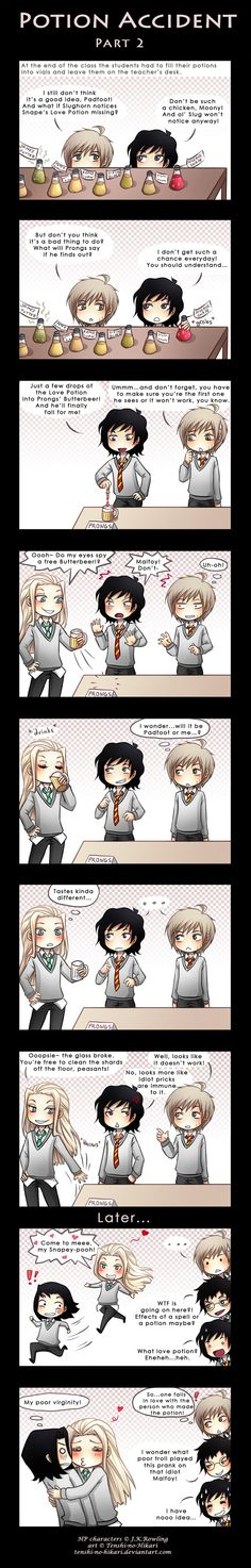 HP - Remus Lupin, Sirius Black, Lucius Malfoy, Severus Snape, James Potter, chibi - Potion accident -part 2- by Tenshi-no-Hikari