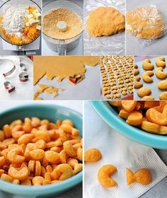 Fish crackers can be a wonderful treat on a rainy day. The crispy crackers can also be a perfect accompaniment for a soup or as a starter. Baby Food Recipes, Snack Recipes, Cooking Recipes, Goldfish Recipes, Homemade Goldfish Crackers, Tasty Kitchen, Snacks, Crepes, Food Processor Recipes