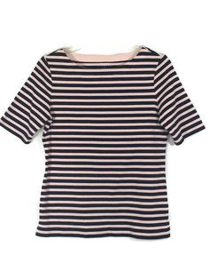 TALBOTS Stretch Short Sleeve Striped Tee Navy Pink Womens Top Shirt SIZE SMALL #Talbots #Tee #Casual