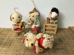 4 Vintage Corn Husk Mouse Mice Ornaments Kurt S Adler #Christmas