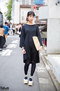 Harajuku Girl in Minimalist Style w/ Black Dress, Mint Designs & Tokyo Bopper (Tokyo Fashion, 2015)