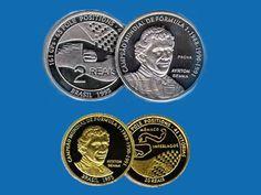 Moedas do Banco Central em homenagem a Ayrton Senna, 1995. Brasil.