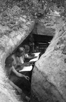 German signalers in a well prepared trench near Stalingrad, Sept 1942.