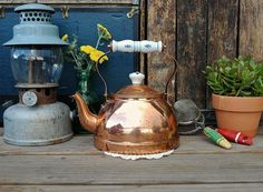 Vintage Copper Kettle with Porcelain Blue and by TheUrbanBarn, $32.00 original kitchen décor mid century etsy shops antique unique one of a kind 50s 60s 70s rusty rustic primitive barn farm country home farmhouse weddings wedding decoration