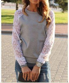 Lace loose long-sleeved round neck sweater AB1222I