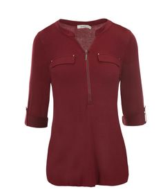 Roll Sleeve  Zip Top, Deep Red