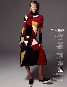 Yo Dona September 2015 | Model wears #FerragamoFW15 Patchwork runway show dress