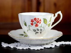 DAMAGED Queen Anne Tea Cup and Saucer, Octagonal Cup 12192 - The Vintage Teacup - 1