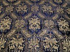 Hand stamped Indigo blue/gold velvet upholstery fabric from Venice at I Luv Fabrix.
