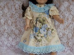 American Girl Doll Clothes Floral Dress With Blue by something2do