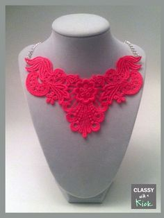 Neon Pink Lace Bib Statement Necklace  18 inch by ClassywithaKick, $20.00