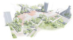 Perspective sur la Place rouge du Parc, véritable lieu emblématique du site