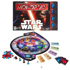 Star Wars Monopoly Game -The classic Monopoly Star Wars Game is back, with a The Force Awakens twist! With exciting new pieces for the player movers as well as properties, this is the pop culture mash-up of the season. 2+ players. $28.99