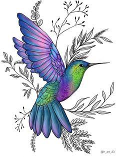 Lian Roberts Digitally drawn original hummingbird art Hummingbird Sketch, Hummingbird Pictures, Colorful Hummingbird Tattoo, Hummingbird Illustration, Hummingbird Painting, Art Drawings Sketches Simple, Bird Drawings, Animal Drawings, Bird Artwork