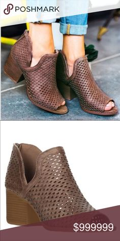 Dark taupe heeled cut out booties Dark taupe peep toe heel booties. Heel height is just over 2 inches Shoes Ankle Boots & Booties