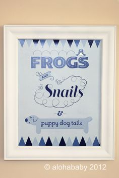 nursery rhyme baby shower centerpiece | Frogs and Snails and Puppy Dog Tails Nursery by alohababydesign