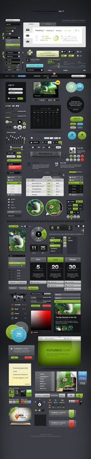 Futurico UI Pro is the world's biggest user interface elements pack. It contains more than 200  web design elements that can be used in any project no matter the style or the concept. The pack contains a set of elements added in one extraordinary collection and the good thing is that you can use them for any design or application.