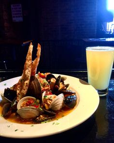 Clams and Mussels in a white wine lemon casino sauce. Paired with Allagash White #seafood #yummy #beer