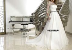 Short sleeves illusion lace neckline wedding dress- 3/4 sleeves sweetheart neckline A-line wedding dress