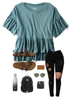 """About me tag"" by trujilloxochitl on Polyvore featuring American Eagle Outfitters, Birkenstock, Tory Burch, Ray-Ban and Fujifilm"