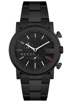 Gucci Watches Men's 101G Chronograph Black Stainless Steel Black Stai