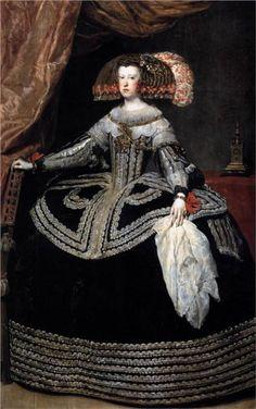Queen Mariana of Austria  by Diego Velazquez  1653  [Cavalier/ Early Baroque]