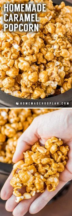 Homemade Caramel Popcorn! With a rich homemade caramel sauce drizzled over fresh popcorn, this caramel corn is sure to bring back childhood memories of carnivals and fairs!   HomemadeHooplah.com
