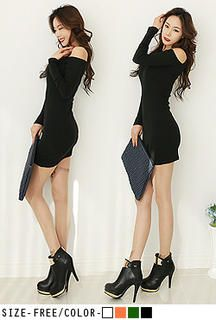 Buy 'UUZONE – Long Sleeve Cut Away Shoulder Dress' with Free International Shipping at YesStyle.com. Browse and shop for thousands of Asian fashion items from South Korea and more!