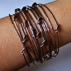 knotted wire; stonedelite Copper Jewelry, Wire Jewelry, Jewelry Crafts, Jewelry Art, Beaded Jewelry, Handmade Jewelry, Jewelery, Diy Jewelry Making, Wire Weaving