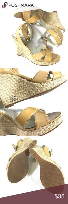 🎅🏽⚔️Michael Kors Wedges Cute espadrille Wedges by Michael Kors with patent leather straps. MK emblems on side of wedge. MICHAEL Michael Kors Shoes