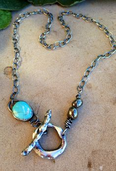 Julianne Van Buskirk Turquoise, pyrite and sterling silver organic toggle necklace.