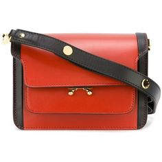 Marni mini 'Trunk' shoulder bag (€1.915) ❤ liked on Polyvore featuring bags, handbags, shoulder bags, brown, mini purse, mini shoulder bag, shoulder handbags, marni shoulder bag and red shoulder handbags